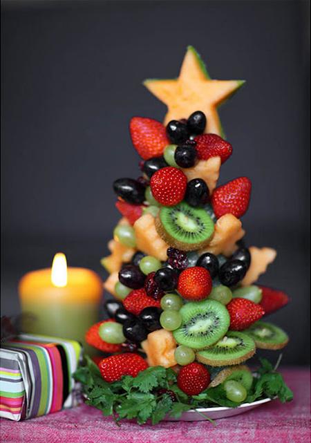 Diy rboles de navidad hechos con frutas la muffinerie - Centro de mesa navidad ...