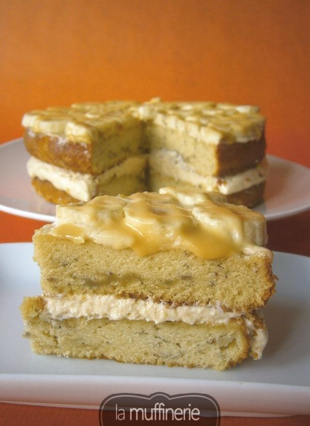 Tarta de plátano rellena de crema de caramelo- LaMuffinerie.com